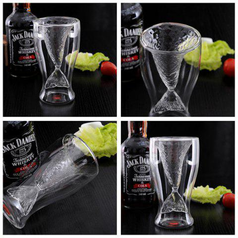 Trendy Mermaid Glass Wine Cup Shark Beer Novelty Mug Cup Drinking Milk Glass Cup Doomed Crystal Shot Cup - Transparent -   Mobile