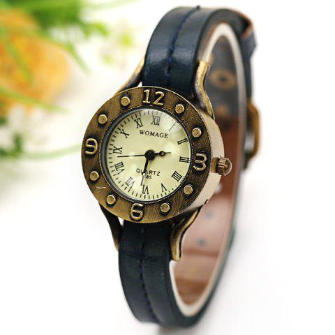 Fashion WoMaGe Quartz Watch 12 Roman Numbers Indicate Leather Watch Band for Women - Dark Brown