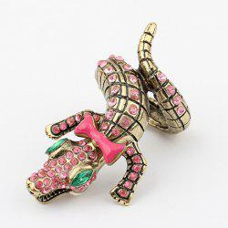 Bowknot Rhinestone Crocodile Shape Ring - AS THE PICTURE