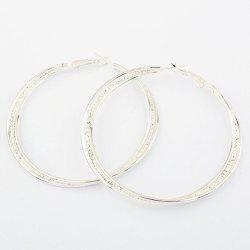 Pair of Figured Round Pendant Alloy Earrings - SILVER