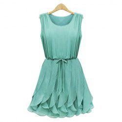 Pleated Solid Color Scoop Neck Sleeveless Refreshing Style Chiffon Women's Dress -