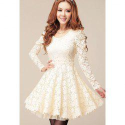 Long Sleeves Sweet Style Scoop Neck Polyester Lace Splicing Women's Dress -