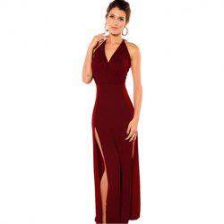 V-Neck Solid Color Sleeveless Polyester Sexy Style Club Women's Maxi-Dress -