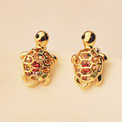 Pair of Rhinestoned Tortoise Shape Earrings - AS THE PICTURE