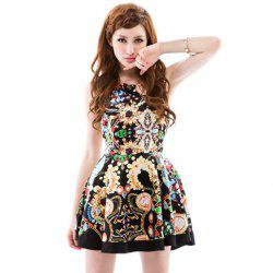 Saucy Scoop Neck Printing Sleeveless Women's Summer Dress -