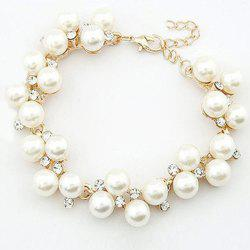 Delicate Chic Style Rhinestoned Faux Pearl Strand Bracelet For Women -