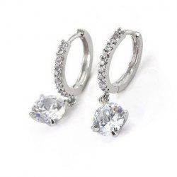 Pair of Embellished Rhinestone Decorated Round Pendant Hoop Earrings For Women -