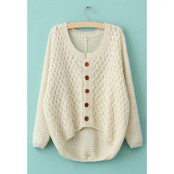 Long Sleeves Irregular Single-Breasted Sweet Style Acrylic Women's Sweater -