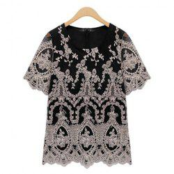 Embroidery Voile Scoop Neck Short Sleeves Retro Style Women's T-Shirt -