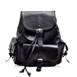 Stylish Pure Color and Buckles Design Women's Casual Satchel -