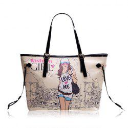 Casual Beauty Print and PU Leather Design Women's Shoulder Bag -