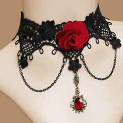 Retro Faux Gem Flower Decorated Necklace