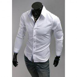 Simple Design Solid Color Shirt Collar Checked Splicing Long Sleeves Polyester Shirt For Men -