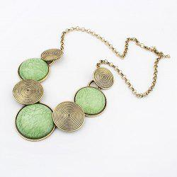 Spiral Print Embellished Round Pendant Alloy Necklace -