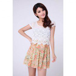 Floral A Line Lace Trim Chiffon Dress