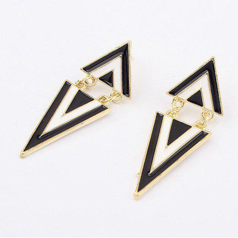 Outfits Pair of Stylish Black White Triangle Earrings For Women