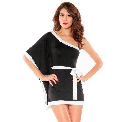 Outfit Alluring Batwing Sleeve One-Shoulder Women's Black Mini Dress