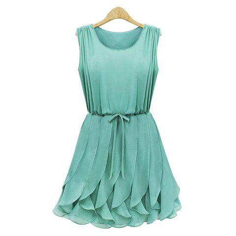 Trendy Pleated Solid Color Scoop Neck Sleeveless Refreshing Style Chiffon Women's Dress