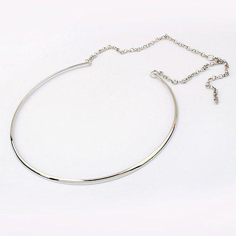Affordable Simple Punk Style Solid Color Embellished Women's Round Alloy Necklace