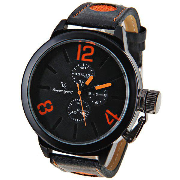 New V6 Quartz Watch with 3 Numbers and Strips Indicate Leather Watch Band for Men