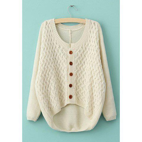 Sale Long Sleeves Irregular Single-Breasted Sweet Style Acrylic Women's Sweater