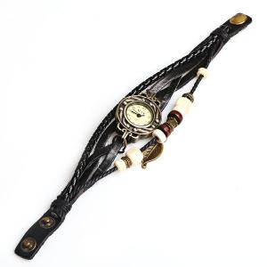 IELY Quartz Watch with 12 Numbers Indicate Leather Watch Band for Women - Black -