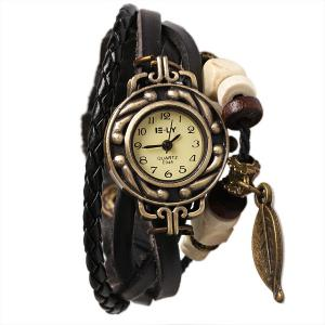 IELY Quartz Watch with 12 Numbers Indicate Leather Watch Band for Women - Black - Black
