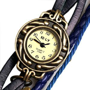 IELY Quartz Watch with 12 Numbers Indicate Leather Watch Band for Women - Blue - BLUE