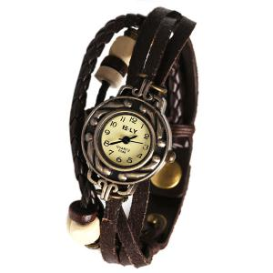 IELY Quartz Watch with 12 Numbers Indicate Leather Watch Band for Women - Dark Brown - Dark Brown