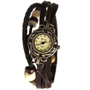 IELY Quartz Watch with 12 Numbers Indicate Leather Watch Band for Women - Dark Brown -