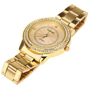 Paidu Quartz Watch with Diamond Squares and Dots Indicate Steel Watch Band for Women - Golden - GOLDEN