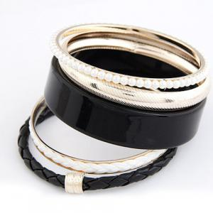 5PCS of Faux Pearl and Leather Design Bangle Bracelets - Black
