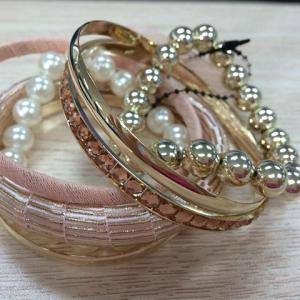 A Suit of Gauze Bowknot and Rhinestone Design Beading Bracelets - Pink Random Pattern - L