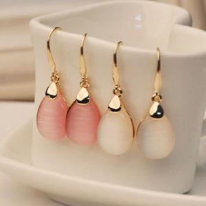 Pair of Faux Opal Waterdrop Shape Earrings