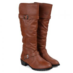 Elastic Band Slip On Mid Calf Boots - Brown - 39