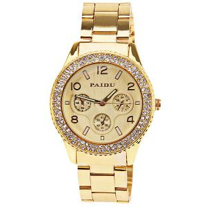 Paidu Quartz Watch with Arabic Numbers and Rectangle Indicate Steel Watch Band for Women (Golden) -