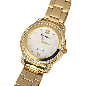 Paidu Quartz Watch 2 Roman Number and Diamond Dots Indicate Steel Watch Band for Women - White Dial -