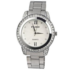 Paidu Quartz Watch 2 Roman Number and Diamond Dots Indicate Steel Watch Band for Women - Silver -