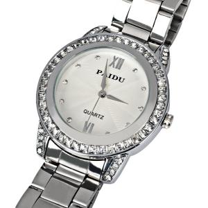 Paidu Quartz Watch 2 Roman Number and Diamond Dots Indicate Steel Watch Band for Women - Silver - SILVER