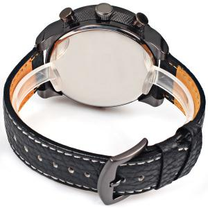 Oulm Quartz Watch with Double Movt Numbers and Strips Indicate Round Dial Leather Watchband for Men -