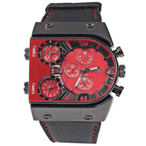 Oulm Multi-Function 3-Movt Quartz Leather Wristwatch Men Military Sports Watch - RED
