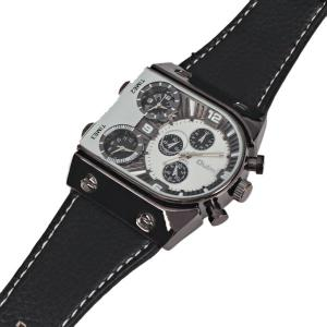 Oulm Multi-Function 3-Movt Quartz Leather Wristwatch Men Military Sports Watch - WHITE