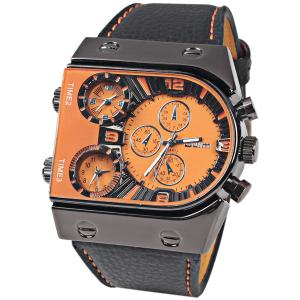 Oulm Multi-Function 3-Movt Quartz Leather Wristwatch Men Military Sports Watch - Orange