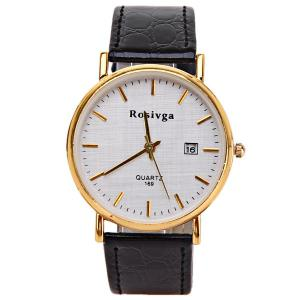 Rosivga Quartz Watch with Strips Indicate Leather Watch Band for Men - White - WHITE