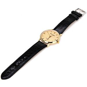 Rosivga Quartz Watch with Rectangles Indicate Leather Watch Band for Men - White -