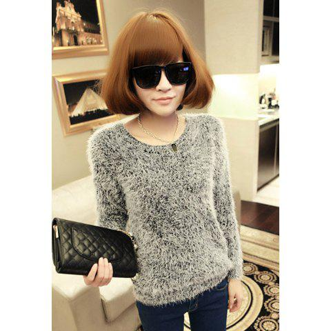 Outfit Stylish Scoop Neck Fluffy Long Sleeves Knitting Women's Sweater