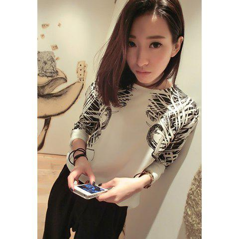 Chic Casual Style Scoop Neck Floral Print Irregular Long Sleeve Chiffon T-Shirt For Women