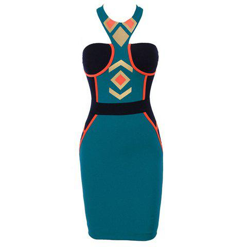 Online Slim Fit Round Neck Color Block Geometric Pattern Women's Bandage Dress