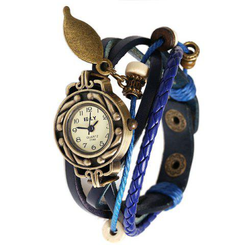 Fancy IELY Quartz Watch with 12 Numbers Indicate Leather Watch Band for Women - Blue