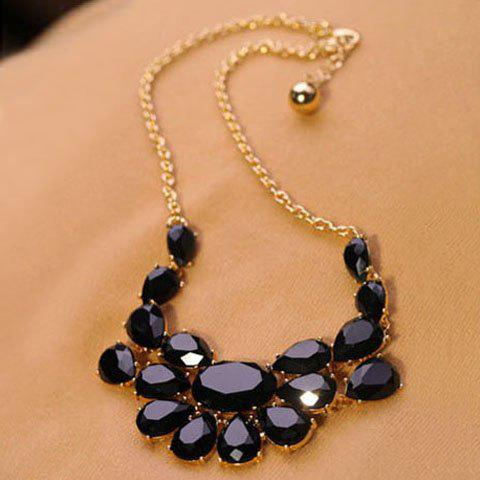 Online Elegant Hot Sale Faux Gem Embellished Waterdrop Shape Pendant Necklace For Women